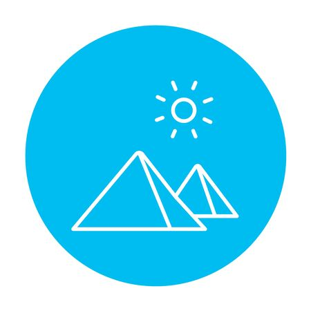 cheops: Egyptian pyramids line icon for web, mobile and infographics. Vector white icon on the light blue circle isolated on white background.
