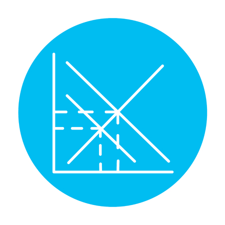ordinate: Mathematical graph line icon for web, mobile and infographics. Vector white icon on the light blue circle isolated on white background. Illustration