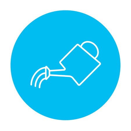 Watering can line icon for web, mobile and infographics. Vector white icon on the light blue circle isolated on white background.