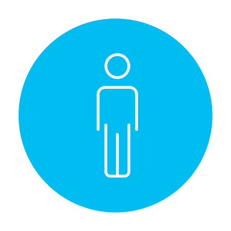 fullbody: Businessman standing  line icon for web, mobile and infographics. Vector white icon on the light blue circle isolated on white background. Illustration