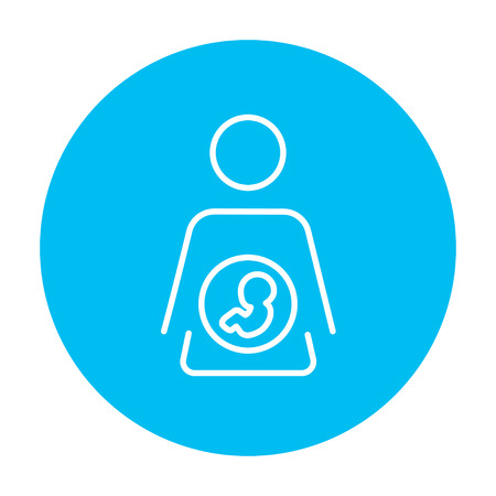 Baby fetus in mother womb line icon for web, mobile and infographics. Vector white icon on the light blue circle isolated on white background.