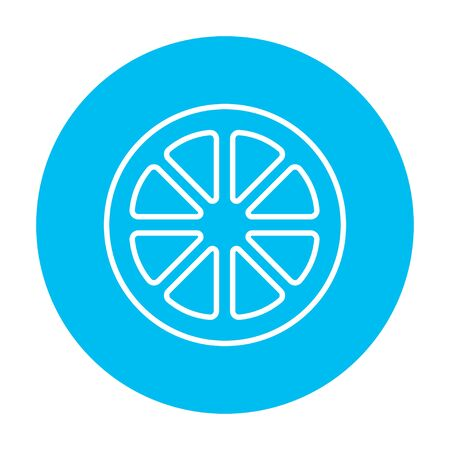 citron: Slice of lemon line icon for web, mobile and infographics. Vector white icon on the light blue circle isolated on white background.