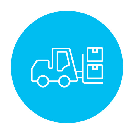 warehousing: Forklift shipping boxes line icon for web, mobile and infographics. Vector white icon on the light blue circle isolated on white background.