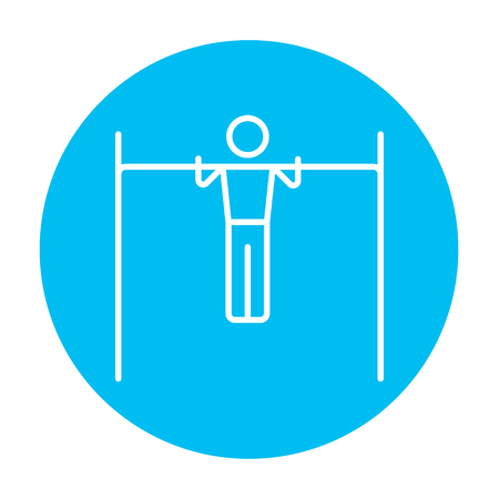 bar line: Gymnast exercising on the bar line icon for web, mobile and infographics. Vector white icon on the light blue circle isolated on white background. Illustration