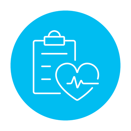 heartbeat line: Heartbeat record line icon for web, mobile and infographics. Vector white icon on the light blue circle isolated on white background. Illustration