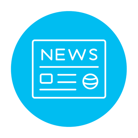 broadsheet: Newspaper line icon for web, mobile and infographics. Vector white icon on the light blue circle isolated on white background.