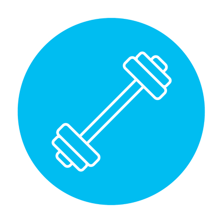 Dumbbell line icon for web, mobile and infographics. Vector white icon on the light blue circle isolated on white background.