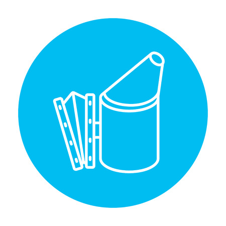 Bee hive smoker line icon for web, mobile and infographics. Vector white icon on the light blue circle isolated on white background.
