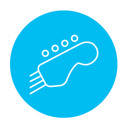 fingerboard: Head of the guitar line icon for web, mobile and infographics. Vector white icon on the light blue circle isolated on white background.