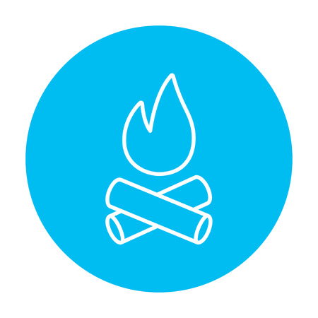 Campfire line icon for web, mobile and infographics. Vector white icon on the light blue circle isolated on white background. Illustration