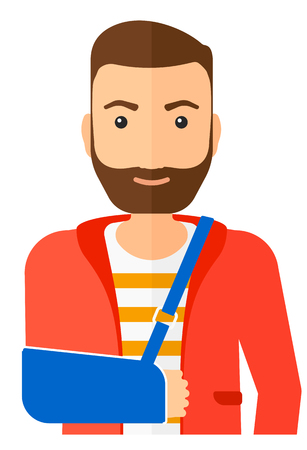 A hipster man with broken arm in bandages vector flat design illustration isolated on white background. Vertical layout. Illustration