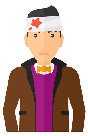 to wound: Un hombre con los vendajes sobre su cabeza ilustración vectorial diseño plano aislado en el fondo blanco. disposición vertical. Vectores