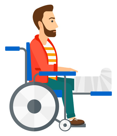 A patient with broken leg sitting in wheelchair vector flat design illustration isolated on white background. Square layout.