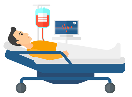 heart monitor: A patient lying in hospital bed with heart rate monitor while blood transfusion is running vector flat design illustration isolated on white background. Horizontal layout. Illustration