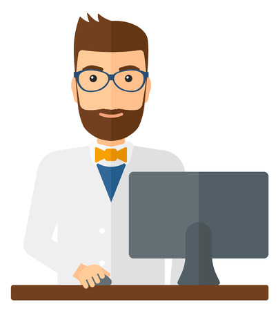 dispensary: A pharmacist standing at the counter in front of computer monitor vector flat design illustration isolated on white background. Square layout.