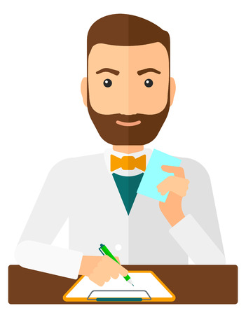 taking notes: A pharmacist taking notes and holding a prescription in a hand vector flat design illustration isolated on white background. Vertical layout.