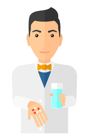 A pharmacist holding in hands a glass of water and some pills vector flat design illustration isolated on white background. Vertical layout.