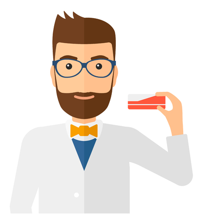 A hipster pharmacist with the beard showing some medicine vector flat design illustration isolated on white background. Square layout.