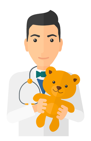 pediatrist: A pediatrician with a stethoscope holding a teddy bear vector flat design illustration isolated on white background. Vertical layout.