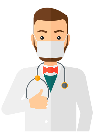 protective gown: A doctor in mask with stethoscope showing thumb up vector flat design illustration isolated on white background. Vertical layout.
