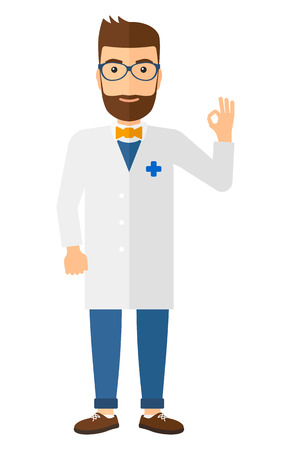 all ok: A friendly doctor in glasses and medical gown showing a sign all ok with his hand vector flat design illustration isolated on white background. Vertical layout.