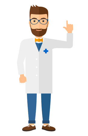 intern: A happy doctor in glasses and medical gown showing finger up vector flat design illustration isolated on white background. Vertical layout.