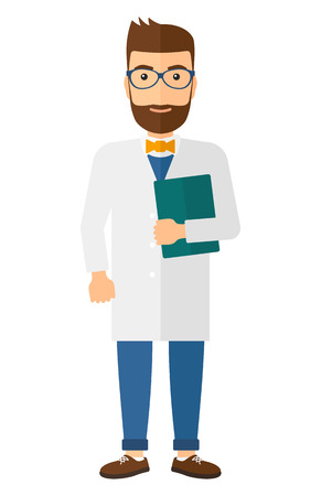 medico: A happy doctor in glasses holding a file vector flat design illustration isolated on white background. Vertical layout. Illustration