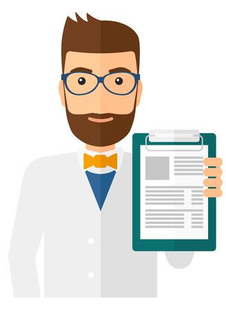 Un médecin tenant vecteur bloc-notes médicale design plat illustration isolé sur fond blanc. Présentation verticale.