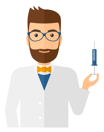 vaccinate: A doctor holding the syringe with medication vector flat design illustration isolated on white background. Vertical layout.