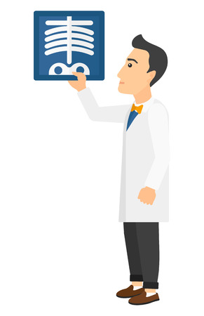 radiograph: A doctor looking at a radiograph vector flat design illustration isolated on white background. Vertical layout.