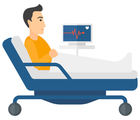 A patient lying in bed with a monitor showing his heartbeat vector flat design illustration isolated on white background. Horizontal layout.