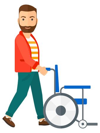 Een man duwt lege rolstoel vector platte ontwerp illustratie op een witte achtergrond. Verticale lay-out.
