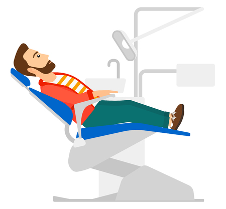 A patient sitting in dental chair vector flat design illustration isolated on white background. Square layout.  イラスト・ベクター素材