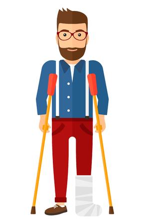 Um homem ferido com a perna quebrada em pé com muletas vector a ilustração design plano isolada no fundo branco. Layout vertical.