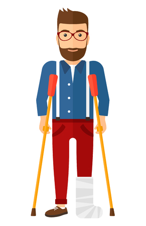 An injured man with broken leg standing with crutches vector flat design illustration isolated on white background. Vertical layout. Vettoriali