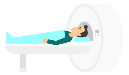 imaging: A man undergoes an magnetic resonance imaging scan test vector flat design illustration isolated on white background. Horizontal layout.