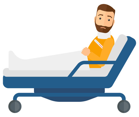 A patient with injured neck lying in bed vector flat design illustration isolated on white background. Horizontal layout. Illustration