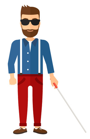poor eyesight: A blind man in dark glasses standing with walking stick vector flat design illustration isolated on white background. Vertical layout.