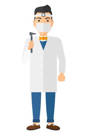 Doctor otolaryngologist vector flat design illustration isolated on white background. Vertical layout.