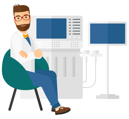 medical scanner: Male ultrasound specialist with ultrasonic equipment vector flat design illustration isolated on white background. Square layout. Illustration