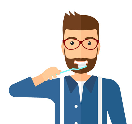 dentalcare: A man brushing his teeth with a toothbrush vector flat design illustration isolated on white background. Square layout.