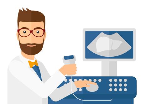 Man echografie specialist met ultrasone apparatuur vector platte ontwerp illustratie op een witte achtergrond. Horizontale indeling.
