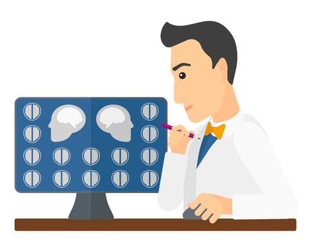 computer screen: A doctor looking at results of MRI scan on a computer screen vector flat design illustration isolated on white background. Horizontal layout.