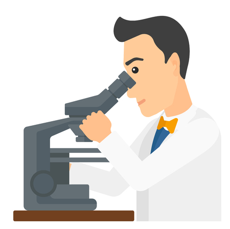 A laboratory assistant looking through a microscope vector flat design illustration isolated on white background. Square layout.