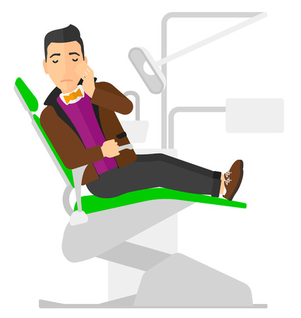 mouth pain: A patient sitting in dental chair and suffering from tooth pain vector flat design illustration isolated on white background. Square layout. Illustration