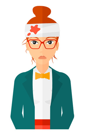 head injury: A woman with bandages over her head vector flat design illustration isolated on white background. Vertical layout.