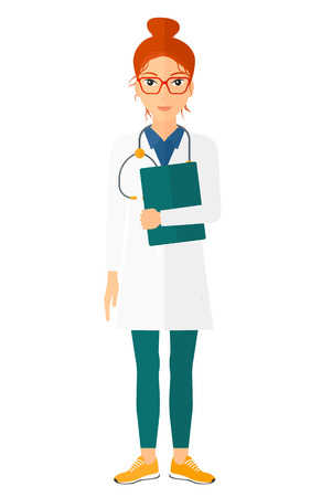 hospital gown: A happy doctor with stethoscope and a file vector flat design illustration isolated on white background. Vertical layout.