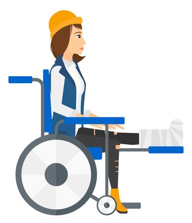 Een patiënt met een gebroken been in rolstoel vector platte ontwerp illustratie op een witte achtergrond. Vierkante lay-out. Vector Illustratie
