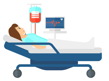 heart monitor: A patient lying in hospital bed with heart rate monitor while blood transfusion is running vector flat design illustration isolated on white background. Illustration
