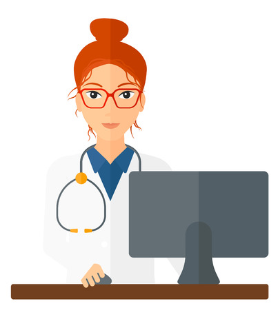 A pharmacist standing at the counter in front of computer monitor vector flat design illustration isolated on white background. Square layout.